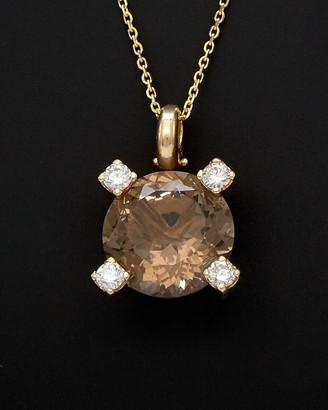 Italian Gold 14K 10.00 Ct. Tw. Smokey Quartz Diamond Necklace