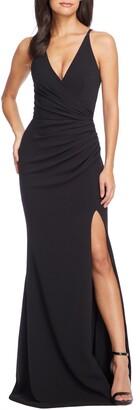 Dress the Population Jordan Ruched Side Slit Gown