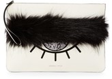 KENDALL + KYLIE Kendall & Kylie Annie Leather & Faux Fur Zip Clutch