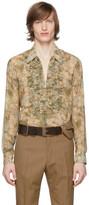 Dries Van Noten Green Floral Ruffle Shirt