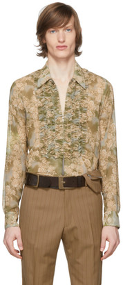 Dries Van Noten Green Floral Ruffle Shirt