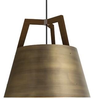 "Cerno Imber 1-Light LED Single Cone Pendant Finish: Walnut/Distressed Brass, Size: 17"" H x 17.75"" W"
