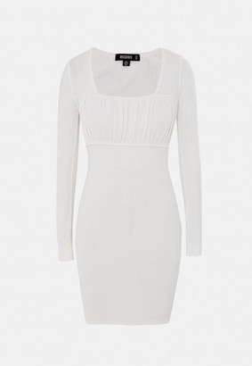 Missguided White Rib Ruched Bust Mini Dress