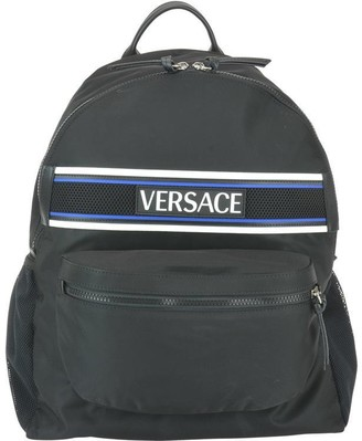 Versace Logo Patch Zipped Backpack