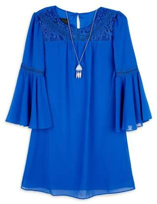 Amy Byer Bell Sleeve Lace Detail Dress With Necklace (Big Girls)