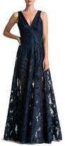 Dress the Population Women's Marlene Plunging Embroidered Mesh Maxi Dress