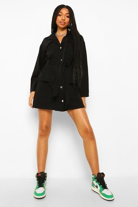 boohoo Denim Belted Utility Dress
