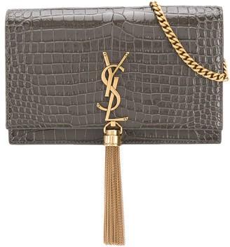 Saint Laurent Kate crocodile-effect crossbody bag