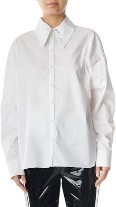 Tibi Tech Poplin Shirt with Detached Collar