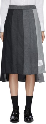 Thom Browne 'Funmix' contrast panel pleat wool skirt