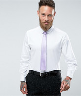 Asos Wedding Slim Sateen Shirt In White with Lilac Tie SAVE