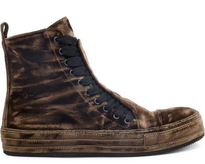 Ann Demeulemeester velvet hi-top sneakers