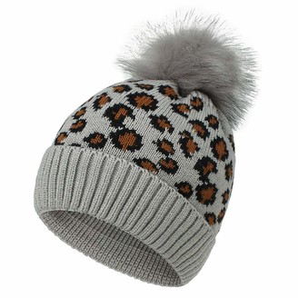 Camelliass Leopard Women Pom Pom Knitted Beanie Hat Winter Warm Cap Bobble Hat (Grey)