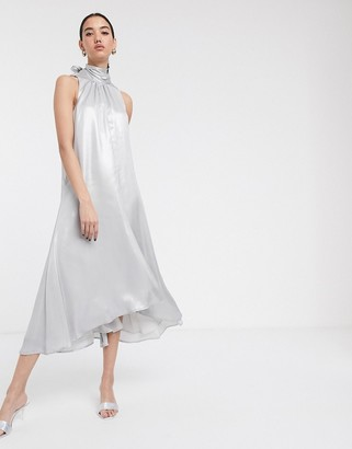 Soaked In Luxury high neck sleeveless dress-Silver