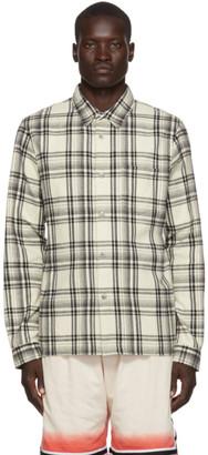 John Elliott Off-White Plaid Straight Hem Shirt