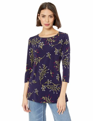 Chaus Women's 3/4 SLV Zip Shldr Trailing Bouquet Top Evening Navy X-Large