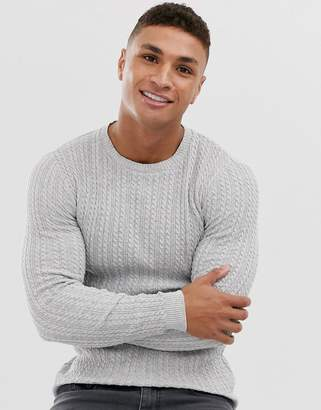 Asos Design DESIGN muscle fit lightweight cable knit sweater in gray