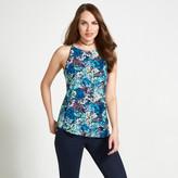 Apricot Blue Yellow & Grey Camouflage Palm Print Vest
