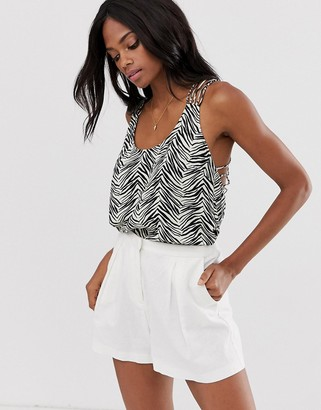ASOS DESIGN cami with beaded lattice back in zebra animal print