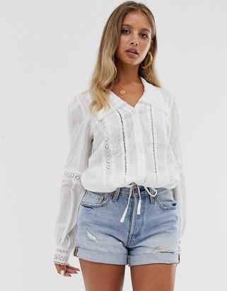 ASOS DESIGN lace insert shirt with tie waist