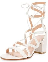 Gianvito Rossi Metallic Loop-Caged Gladiator Sandal, Off White