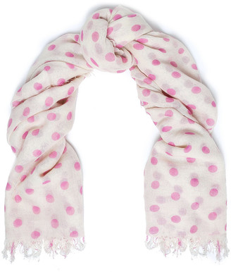 Chan Luu Frayed Polka-dot Cashmere And Silk-blend Scarf