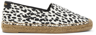 Saint Laurent Black and White Babycat-Print Embroidered Espadrilles