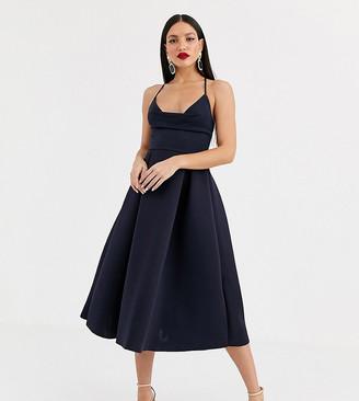 Asos Tall DESIGN Tall cowl neck cami midi prom dress-Black