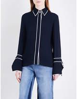 Mo&Co. Contrast-trim crepe shirt
