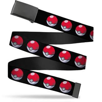 "Buckle Down Buckle-Down Web Belt - Poke Ball Repeat Black - 1.25"" Wide - Fits up to 42"" Pant Size"