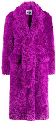 MSGM Belted Faux-Fur Coat