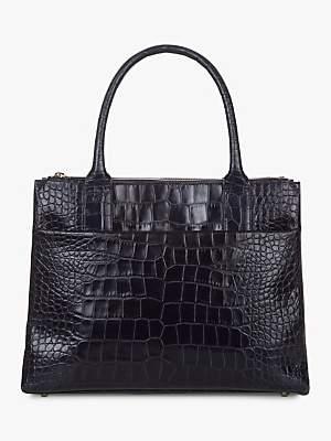 Hobbs Leather Crocodile Embossed Oxford Tote Bag, Navy