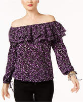 MICHAEL Michael Kors Printed Off-The-Shoulder Flounce Top