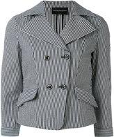 Emporio Armani striped blazer - women - Cotton/Linen/Flax/Polyamide/Spandex/Elastane - 38
