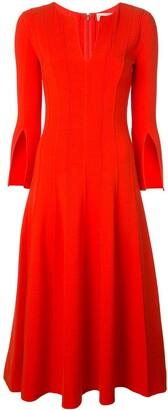 Oscar de la Renta split-sleeve flared midi-dress