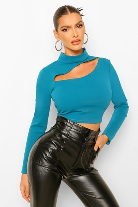 boohoo Crepe High Neck Cut Out Detail Top