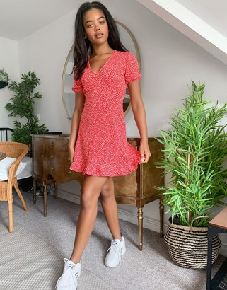 Miss Selfridge ditsy mini dress in red