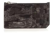 Saint Laurent Camouflage-print Suede Cardholder