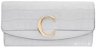 Chloé Taupe Croc Long C Wallet
