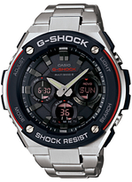 Casio Gst-w100d-1a4er G-shock Stainless Steel Bracelet Strap Watch, Silver/black