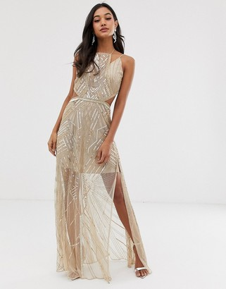 Asos Design DESIGN maxi dress with geometric embellishment and sheer panels-Gold