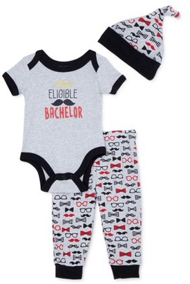 Duck Duck Goose Baby Boy Short Sleeve Bodysuit, Hat, and Joggers Outfit Set, 3pc