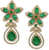 Effy Brasilica by Emerald (5-1/4 ct. t.w.) and Diamond (1-1/4 ct. t.w.) Teardrop Earrings in 14k Gold, Created for Macy's
