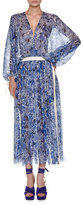 Agnona Floral-Print Chiffon Drawstring Dress, Blue