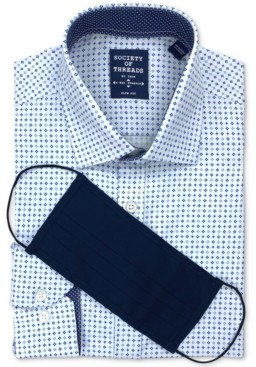 Society of Threads Men's Slim-Fit Non-Iron Performance Stretch White/Navy Dress Shirt and Mask