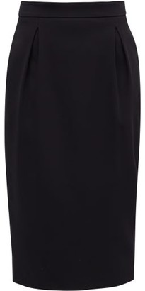 Versace High-rise Pleated Crepe Pencil Skirt - Womens - Black