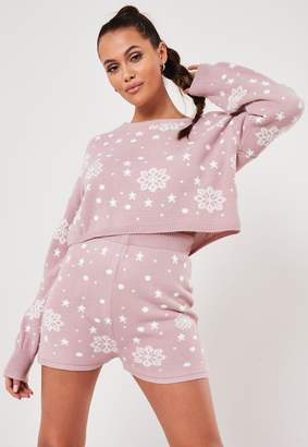 Missguided Pink Co Ord Snowflake Christmas Knitted Jumper