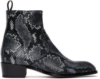 Giuseppe Zanotti Grey Python Seba Boots