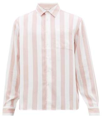 Saturdays NYC Perry Candy-striped Patch-pocket Lyocell Shirt - Mens - Pink White
