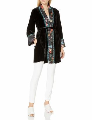 3J Workshop by Johnny was Women's Kimono Jacket with Print Detail on Trim